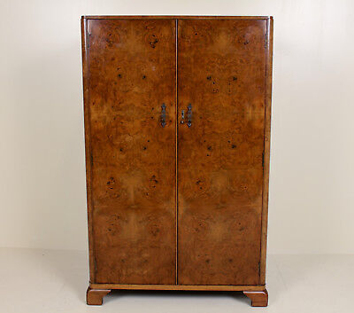 Art Deco Walnut Compactum Wardrobe Art Deco Gents Wardrobe Vintage Moderne