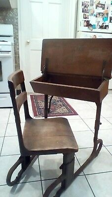 Antique Small Child's School house Desk with attached Chair