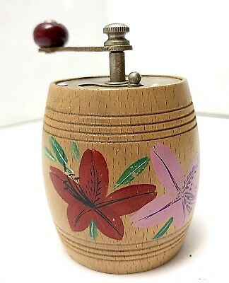 VINTAGE WOOD WOODEN PEPPER MILL SPICE GRINDER HAND CRANK HAND PAINTED Floral