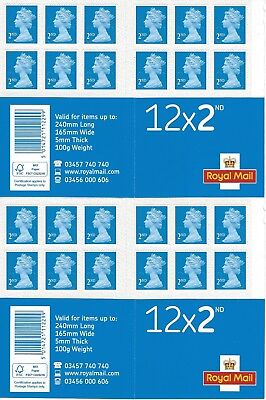 24 X 2nd Class Postage Stamps NEW GENUINE Self Adhesive GB UK FAST POST Second
