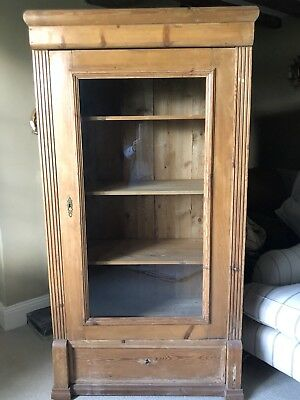 Antique Pine Armoire/ Linen Cupboard Or Glazed Cabinet