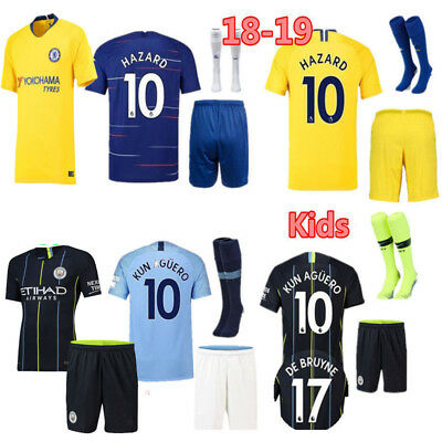 2018 Newest Football Soccer Club Jersey Kit for 3-14Y Kids Boy+Socks Outfits Set