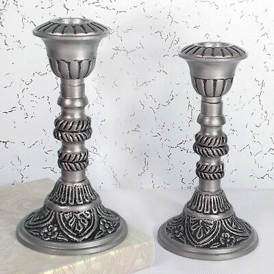 Pair of Antique Cream & Gold Candlesticks, Vintage style Christmas Candle Holder