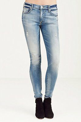 True Religion $199 Halle Mid Rise Super Skinny Jeans In Blue Haven Sz 27