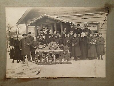early 1900 COFFIN POST MORTEM PEOPLE LARGE ORIGINAL ANTIQUE PHOTO ON CARDBOARD