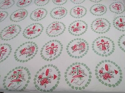 Vintage Cotton Red Green Scarecrow Birds Floral Print Tablecloth Fabric