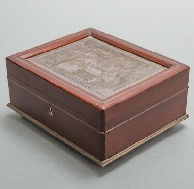 Antique1800s Mahogany Jewelry Box Inlaid with French Copperplate Gelli Etching