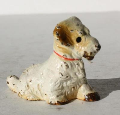 Puppy Dog Figure Metal Cast Iron Miniature Dog Sitting Hand Painted Red Collar