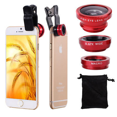 For iPhone/Samsung Smart 3in1 Wide Angle Fish Eye Macro Clip-on Lens Universal