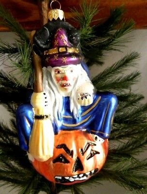 Scary Witch on Angry Jack-o-Lantern w Black Cat Glass Halloween Ornament Poland