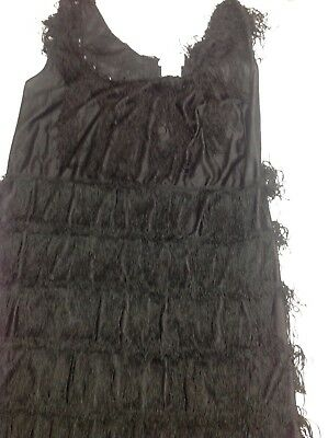 Halloween Costume 1920's Black Flapper Large Adult Holiday Party Dress CA Costum