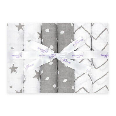 Bloomsbury Mill Baby Muslin Squares Cotton Cloths - Grey / White Colour - 6 Pack