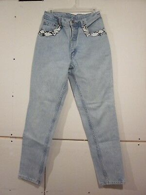 Vtg 90's PARASUCO HIGH WAIST Relax Blues embroidered Womens Denim JEANS 32