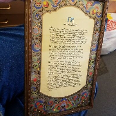 """Antique Colorful Gilted Framed Lithograph Poem """" If For Girls"""" by Wilbur Nesbit"""
