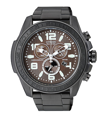Citizen Eco Drive AT2275-56X Brown Dial Black Ion Plated Steel Chrono Mens Watch