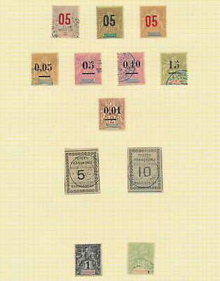 FRANCE COLONIES STAMPS, 1890s, 4 PAGES OF GENUINE INCS MADAGASCAR VALUE TABLETS