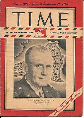 Time Magazine Pacific Pony Edition Sept 25, 1944. US at War. General Lee.