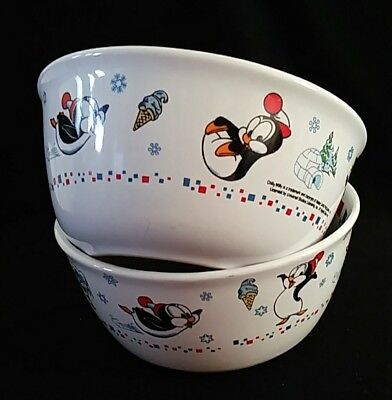 Walter Lantz Productions Chilly Willy Penguin set of 2 bowls ceramic
