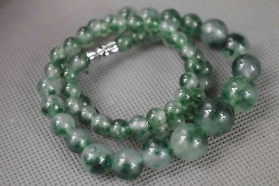 Chinese Decorate Burnish Jade Carve Natural Texture Bead Fashion Gift Necklace