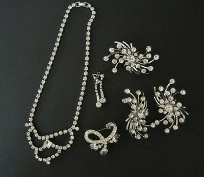 Vintage Mod Jewelry Lot Rhinestone Necklaces Earrings Brooches