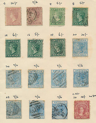 Antigua Stamps 1872-1885 Incs Sg #5 & #20 Mint, Old Approval Book Page, F/vf