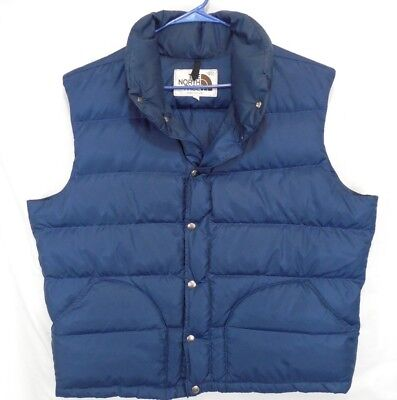 Vintage North Face Blue Down Puffer Vest Brown Label XL USA
