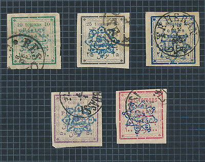 Postes Persanes Stamps 1902 Rare Set Blue To 100 Toman, Control Numbers Rev, Vfu