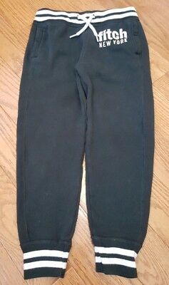 ABERCROMBIE FITCH Boys Size 7 8 BLACK JOGGERS Pants Drawstring POCKETS