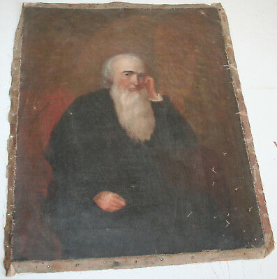 Antique 19th Century Old Master Oil Painting on Canvas Man w Long beard