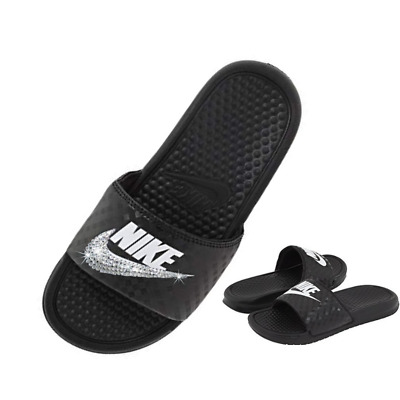 cf019c98c6e2 Bling Nike Slides BLACK and White Sparkly Glitter Sandals Bedazzled Shoes