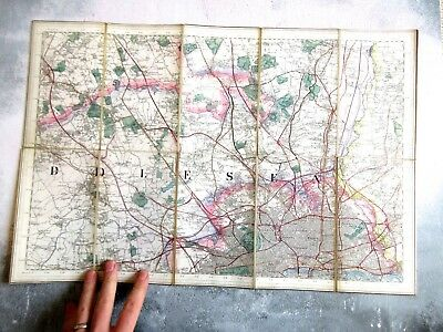 Antique c1870s Edward Stanford Map of London