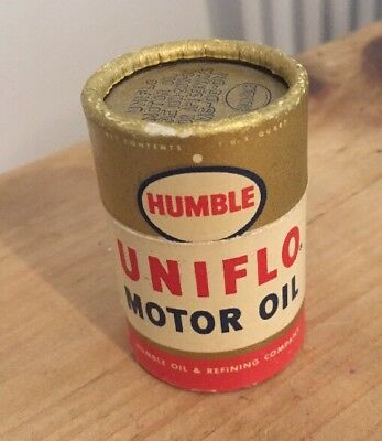 HUMBLE UNIFLO MOTOR OIL Can Matchbook w/Original Matches Humble Oil Refinery TX
