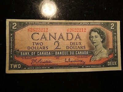 1954 Bank Of Canada $2 Dollars Beattie Rasminsky Fancy Serial Number J/r2622212