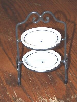 Longaberger Pottery Miniature Two Pie Stand With Two Potts