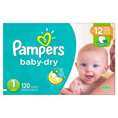 120 pack!! PAMPERS Baby Dry Diapers, Size 1 (8 - 14 lbs) FAST-FREE SHIPPING