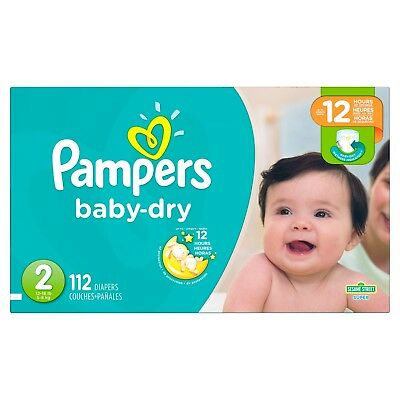 112 PACK! PAMPERS Baby Dry Diapers, Size 2 12 Hrs protection FAST-FREE SHIPPING