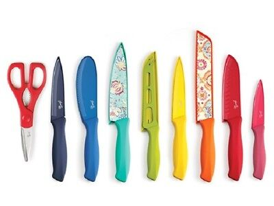Fiesta 17-Piece Decal & Solid Colorful Knife Set Soft Handles Paisley Floral