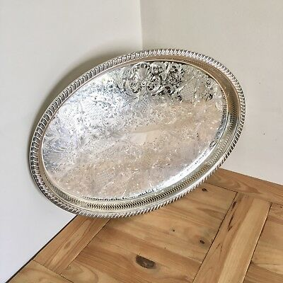 Superb Large Antique Silver Plated Butlers Gallery Serving Tray 21.5x16.5 Inches