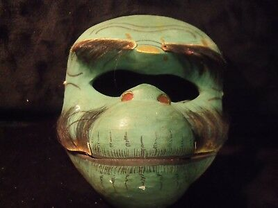 """Antique Japanese Hand Carved / Hand Painted Wood 6 1/4"""" Noh Mask"""
