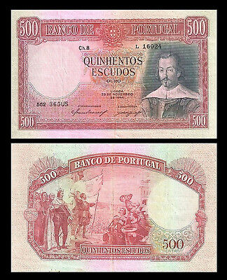 Portugal - 2x 500 Escudos - Issue 1944 & 1952 - 2 Banknotes - 11