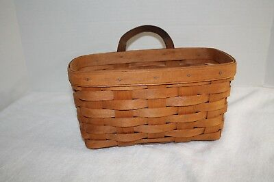 Longaberger 1992 Medium Key / Mail hanging basket w/ leather handle
