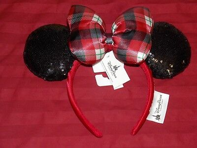 Disney Parks 2018 Christmas Holiday Red Black Plaid Minnie Ears Headband New Tag