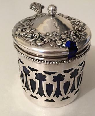 Very ornate art nouveau Sterling silver mustard pot with cobalt glass insert