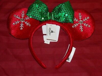 Disney Parks 2018 Christmas Red Jeweled Snowflake Minnie Ears Headband New