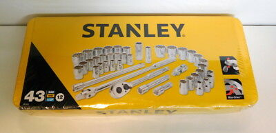 "Stanley Socket Set 43 Piece 89-509 1/2"" Drive Max-Drive Imperial & Metric"