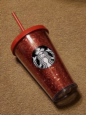 2018 Starbucks RED Star Glitter Cold Cup 16oz Sparkle Tumbler Holiday Collection