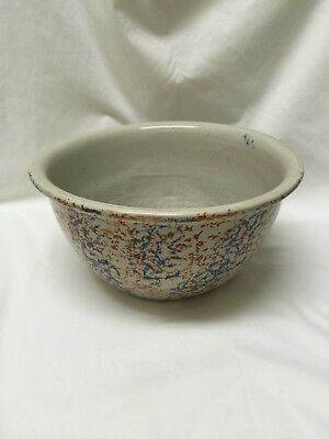 "Wonderful Vintage Red Wing  11"" Blue and Rust Sponge Ware Bowl"