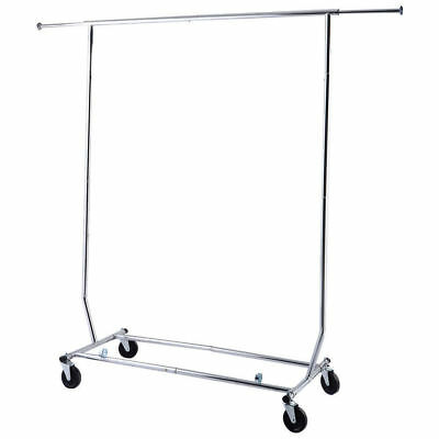 Heavy Duty Commercial Dry Clothes Hanger Garment Rolling Collapsible Rack