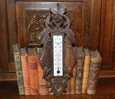 Antique French Black Forest Thermometer Carved Wood Pheasants Dog Hunt Themed