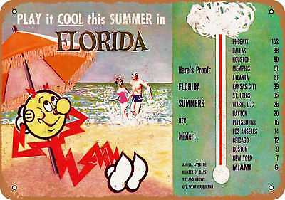 """7"""" x 10"""" Metal Sign - 1950s Florida Summers are Milder - Vintage Look Reproducti"""